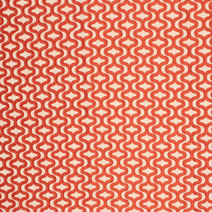 Cutup Orange Red Trellis Embroidered Geometric Drapery Fabric / Henna