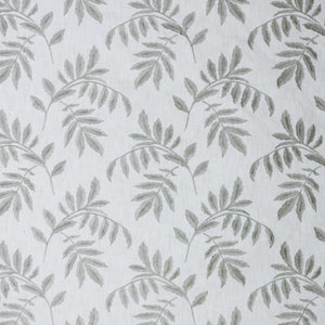 Falling Leaves White Gray Embroidered Cotton Drapery Fabric Fabric / Titanium