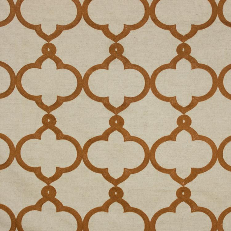 Kafu Trellis Beige Burnt Orange Embroidered Drapery Upholstery Fabric / Papaya