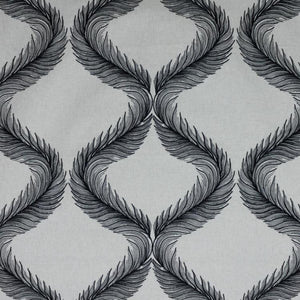 Nom de Plume Charcoal Black Embroidered Feather Drapery Fabric / Ebony