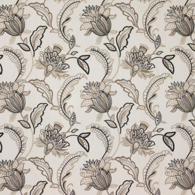 Nottingham Garden Floral Embroidered Beige Gray Black Jacobean Drapery Fabric / Driftwood