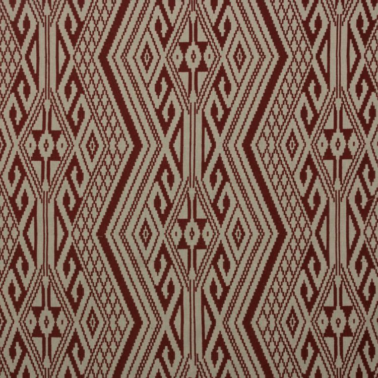 Papago Red Southwestern Embroidered Drapery Fabric / Canyon