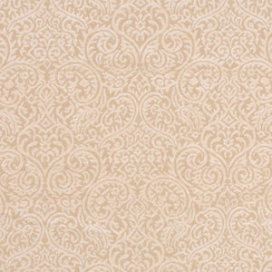 Sanremo Scroll Cream Damask Upholstery Fabric / White Chocolate
