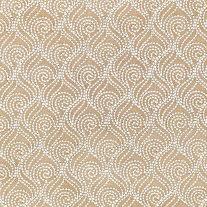 Swirl-A-Way Beige Embroidered Cotton Linen Blend Drapery Fabric / Butternut