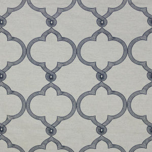 Tangier Navy Blue Embroidered Trellis Drapery Fabric / Stardust