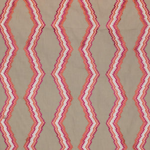 Tiberon Stripe Beige White Coral Red Geometric Embroidered Drapery Fabric / Coral