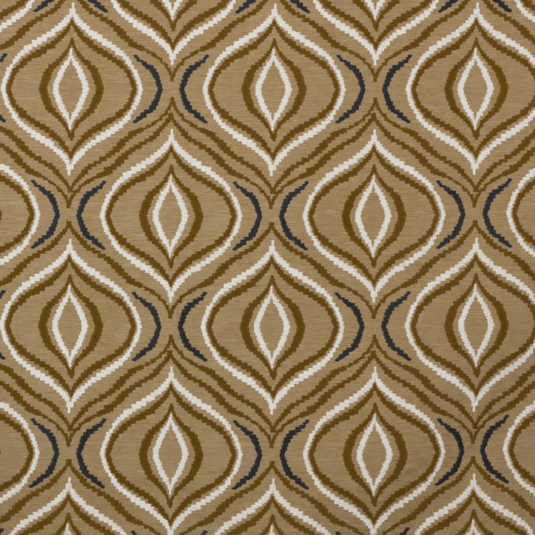 Tradewinds Brown Beige White Embroidered Drapery Fabric / Butternut