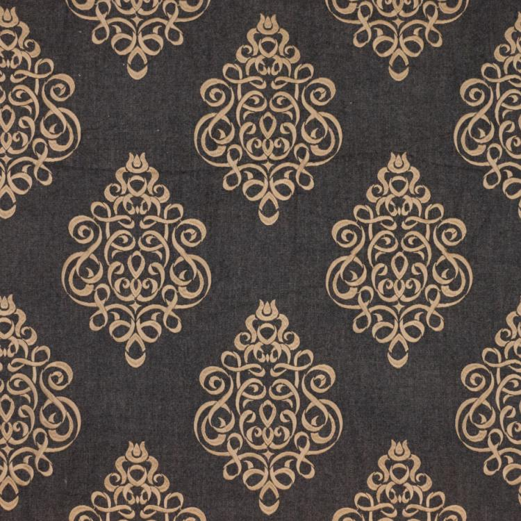 Tuxedo Park Charcoal Brown Beige Embroidered Upholstery Fabric / Walnut