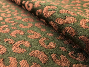 Kravet Brown Rusty Caramel Animal Pattern Cheetah Chenille Upholstery Drapery Fabric / Tanzia Cinnamon