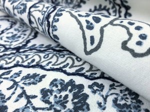Designer Off White Navy Blue Embroidered Cotton Paisley Floral Drapery Fabric
