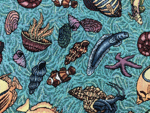 Nautical Tropical Teal Blue Yellow Green Rusty Brown Beige Purple Tapestry Upholstery Fabric
