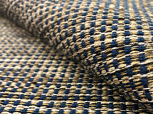 Load image into Gallery viewer, Designer Water & Stain Resistant Woven Navy Blue Brown Beige Cream Tweed MCM Mid Century Modern Upholstery Fabric