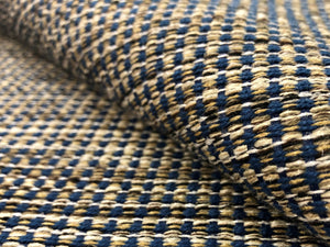 Designer Water & Stain Resistant Woven Navy Blue Brown Beige Cream Tweed MCM Mid Century Modern Upholstery Fabric