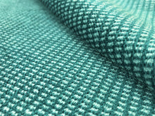 Load image into Gallery viewer, MCM Mid Century Modern Small Scale Grid Check Green Teal Chenille Upholstery Fabric