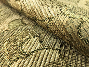 Kravet Sage Olive Green Wheat Gold Art Deco Abstract Chenille Upholstery Fabric