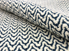 Load image into Gallery viewer, Designer Woven Small Scale Geometric Cream Navy Blue Upholstery Fabric