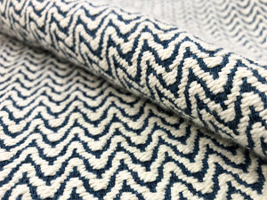 Designer Woven Small Scale Geometric Cream Navy Blue Upholstery Fabric