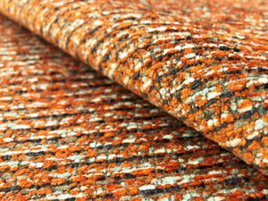 Designer Reversible Orange Gray Charcoal White Tweed MCM Chenille Upholstery Fabric