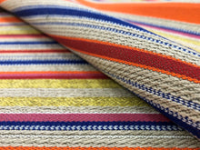 Load image into Gallery viewer, Designer Water & Stain Resistant Neon Orange Chartreuse Green Royal Blue Red Taupe Pink Stripe Upholstery Fabric