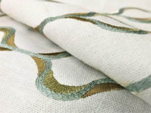 Kravet Design Embroidered Olive Seafoam Aqua Green Off White Trellis Geometric Cotton Drapery Fabric