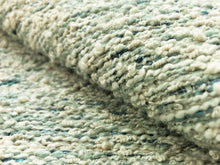 Load image into Gallery viewer, Designer Water & Stain Resistant Teal Aqua Blue Cream Woven Boucle Tweed MCM Mid Century Modern Upholstery Fabric