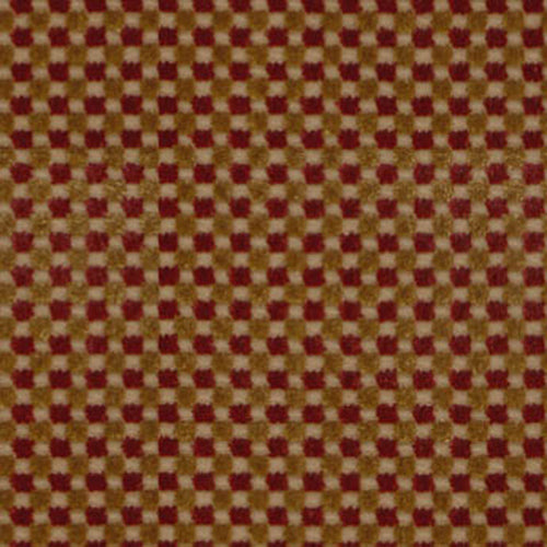 SCHUMACHER FENWICK CHECK VELVET FABRIC 43551 / RED/GOLD