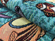 Load image into Gallery viewer, Nautical Tropical Teal Blue Yellow Green Rusty Brown Beige Purple Tapestry Upholstery Fabric