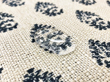 Load image into Gallery viewer, Designer Indoor Outdoor Water & Stain Resistant Beige Navy Blue Floral Woven Upholstery Drapery Fabric