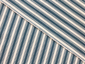 Reversible Designer Woven French Blue Cream Ivory Geometric Stripe Nautical Upholstery Drapery Fabric