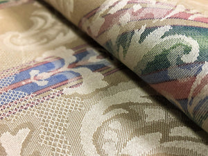 "54"" Wide Reversible French Blue Emerald Green Red Beige Ivory Vintage Damask Floral Stripe Cotton Upholstery Drapery Fabric"