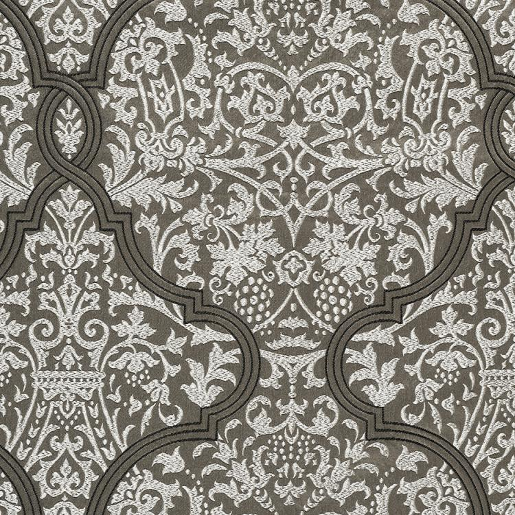 Chalfont Damask Gray Brown Silver White Embroidered Drapery Fabric / Truffle