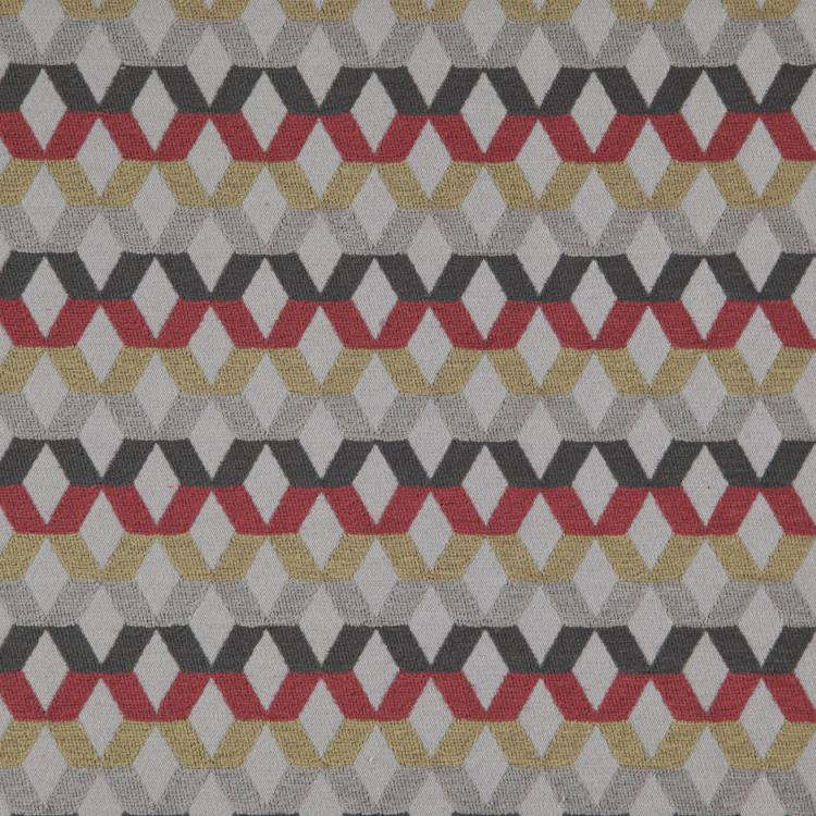 Di Lido Gray Red Mustard Charcoal Gray Geometric Upholstery Fabric / Berry