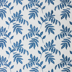 Falling Leaves White Blue Cotton Embroidered Drapery Fabric / Mood Indigo