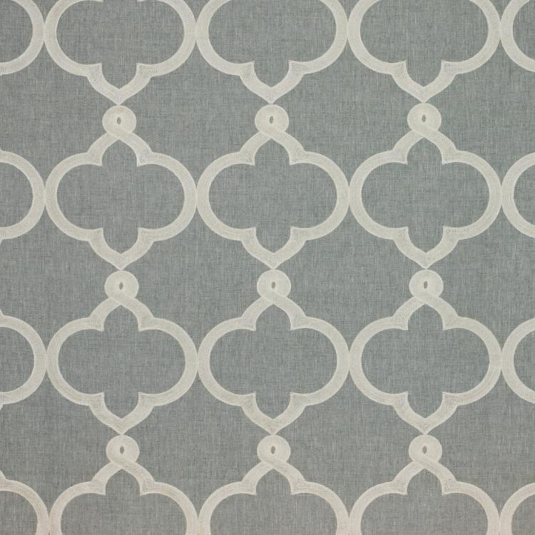 Kafu Trellis Gray Ivory Embroidered Drapery Upholstery Fabric / Sterling
