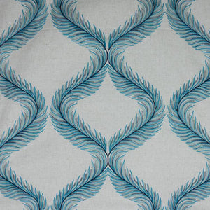 Nom de Plume Beige Navy Teal Turquoise Blue Embroidered Feather Drapery Fabric / Aegean