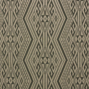 Papago Beige Gray Southwestern Embroidered Geometric Drapery Fabric / Zinc