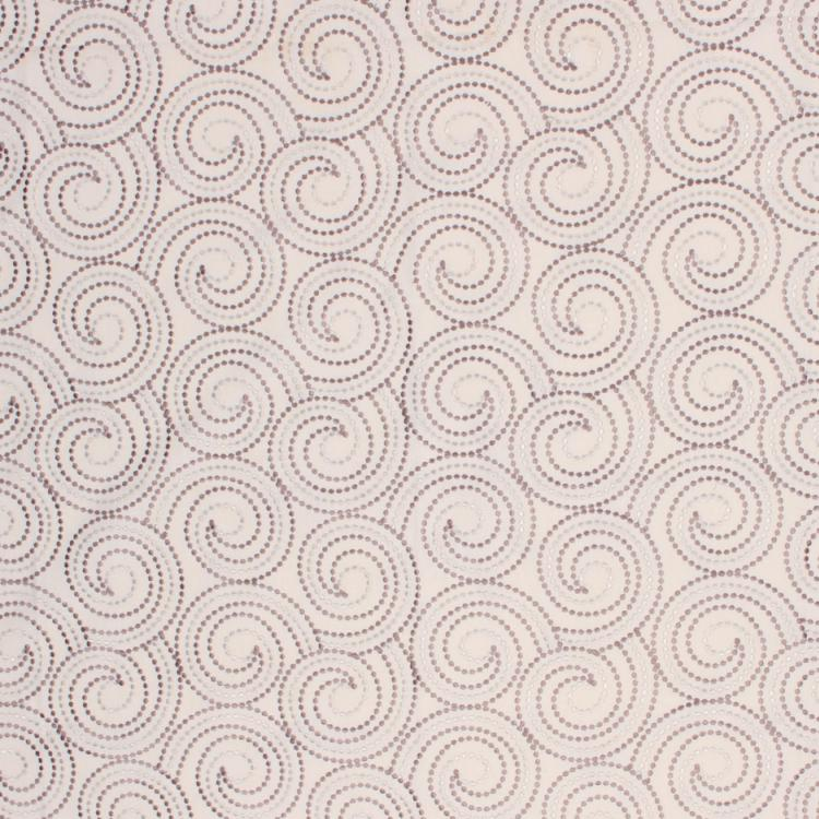 Scroll Dance Beige Gray Taupe Embroidered Drapery Fabric / Mushroom