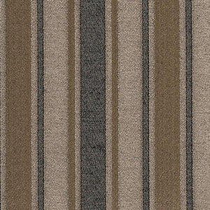 Shelton Stripe Brown Charcoal Gray Mustard Brown Cotton Blend Fabric / Truffle