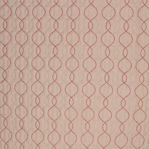 Stitch in Time Beige Red Embroidered Trellis Drapery Fabric / Rosedust