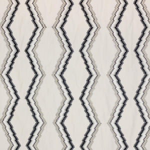 Tiberon Stripe Beige Charcoal gray Black Geometric Embroidered Drapery Fabric / Flint