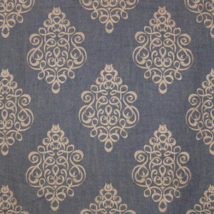 Tuxedo Park Beige Steel Blue Embroidered Upholstery Fabric / Driftwood
