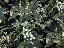 Load image into Gallery viewer, Navy Blue Emerald Green Beige Tropical Floral Botanical Upholstery Drapery Fabric