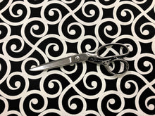 Load image into Gallery viewer, Mill Creek Black & White Armank Noir Scroll Cotton Upholstery Drapery Fabric