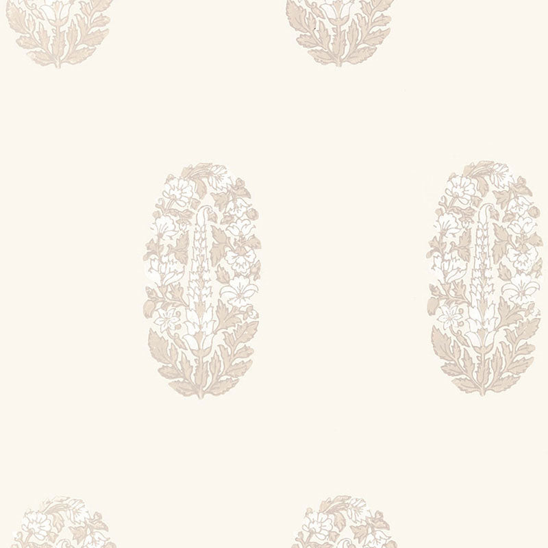 Schumacher Askandra Flower Wallpaper 5005310 / Oyster