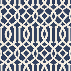 Schumacher Imperial Trellis II Wallpaper 5005801 / Ivory / Navy