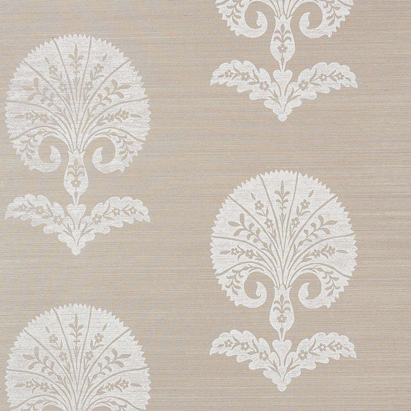 Schumacher Ottoman Flower Sisal Wallpaper 5008210 / Fog