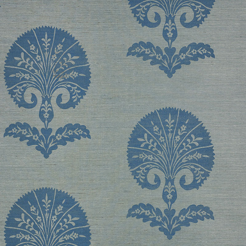 Schumacher Ottoman Flower Sisal Wallpaper 5008211 / Mineral
