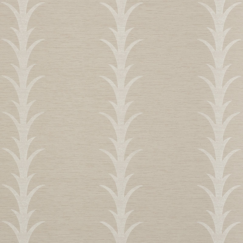 Schumacher Acanthus Stripe Vinyl Wallpaper 5008591 / Taupe