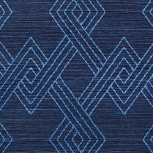Load image into Gallery viewer, Schumacher Hix Embroidered Sisal Wallpaper 5008970 / Blue