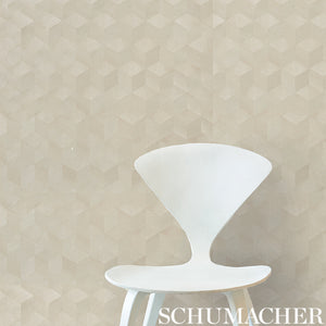 Schumacher Chevron Inlay Wallpaper 5009632 / Birch